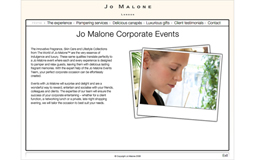 Jo Malone Corporate Events Brochure CD Rom